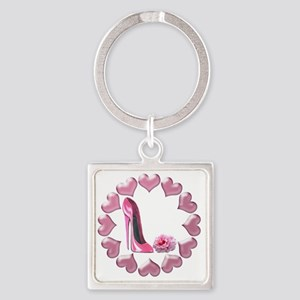 Pink High Heel Stiletto, Rose and  Square Keychain