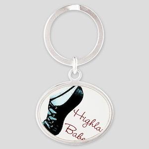Highland Babe Dancewear shoe logo Oval Keychain
