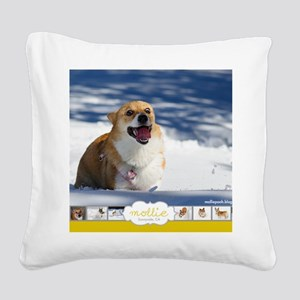 Mollie Corgi Square Canvas Pillow