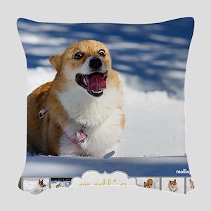 Mollie Corgi Woven Throw Pillow