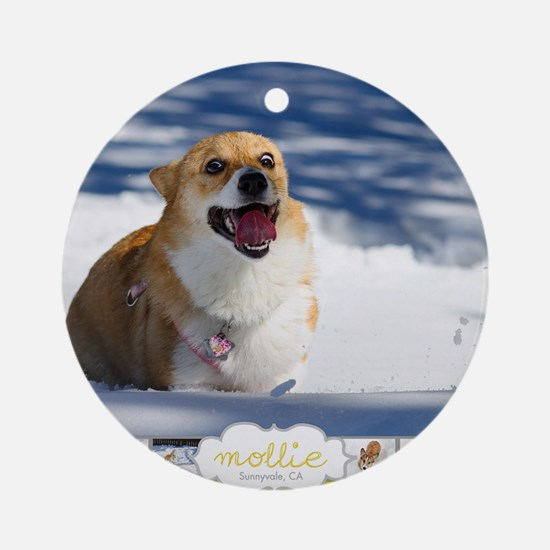 Mollie Corgi Round Ornament