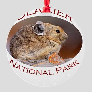 Glacier National Park...Pika Profil Round Ornament