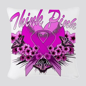 Think Pink Woven Throw Pillow