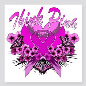 "Think Pink Square Car Magnet 3"" x 3"""