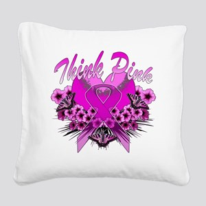 Think Pink Square Canvas Pillow