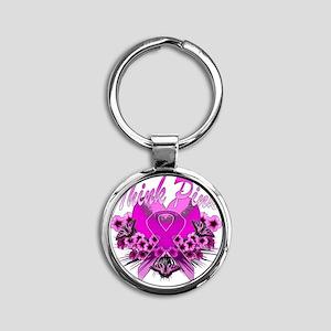 Think Pink Round Keychain