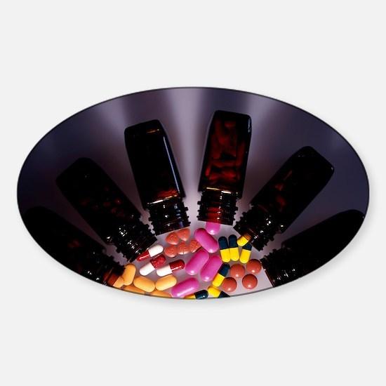 Assorted pills Sticker (Oval)