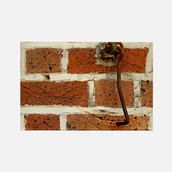 Latch Hook on Brick Wall Rectangle Magnet