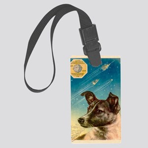 Laika the space dog postcard Large Luggage Tag