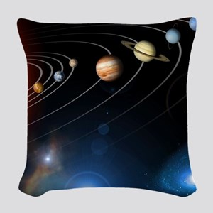 Solar system planets Woven Throw Pillow