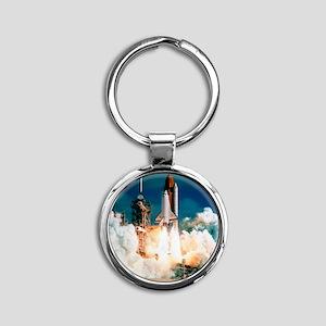 Space Shuttle launch Round Keychain