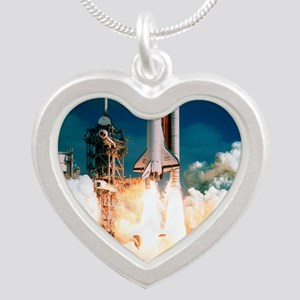 Space Shuttle launch Silver Heart Necklace