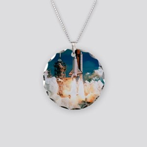 Space Shuttle launch Necklace Circle Charm