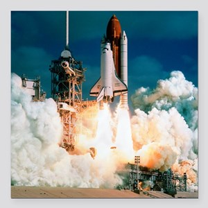 "Space Shuttle launch Square Car Magnet 3"" x 3"""