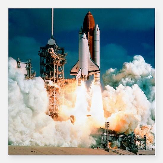 "Space Shuttle launch Square Car Magnet 3"" x 3"""