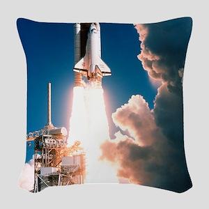 Space Shuttle launch Woven Throw Pillow