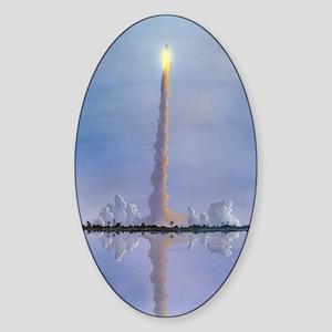 Space Shuttle launch, artwork Sticker (Oval)