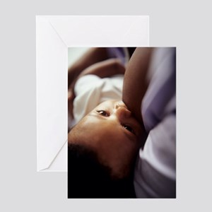 Baby boy breastfeeding Greeting Card