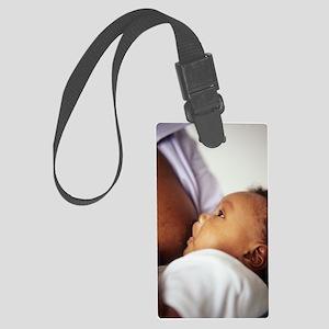 Baby boy breastfeeding Large Luggage Tag