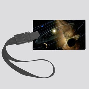 Saturn and solar system Large Luggage Tag