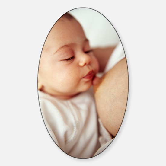 Baby girl breastfeeding Sticker (Oval)