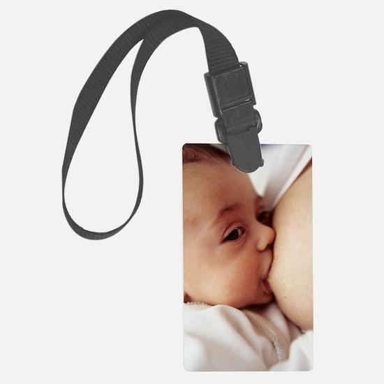Baby girl breastfeeding Luggage Tag