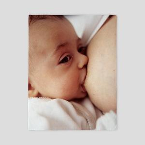 Baby girl breastfeeding Twin Duvet