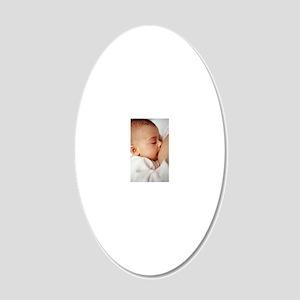 Baby girl breastfeeding 20x12 Oval Wall Decal