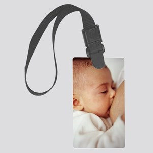 Baby girl breastfeeding Large Luggage Tag