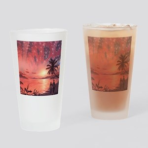 Space colony holiday islands, artwo Drinking Glass