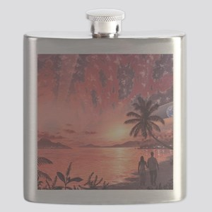 Space colony holiday islands, artwork Flask