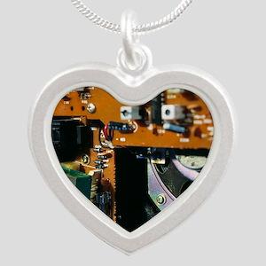 Transformer in a radio Silver Heart Necklace