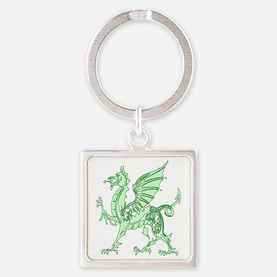 Green Dragon Square Keychain