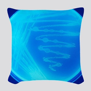 Bacterial culture Woven Throw Pillow