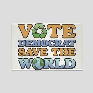 Vote Democrat Save World Rectangle Magnet
