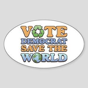 Vote Democrat Save World Oval Sticker