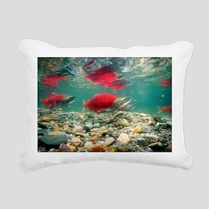 Spawning sockeye salmon Rectangular Canvas Pillow