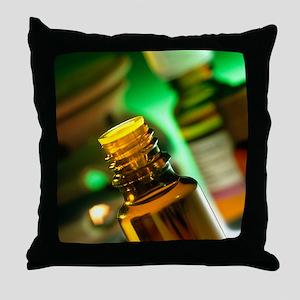 Bottles containing aromatherapy oil Throw Pillow