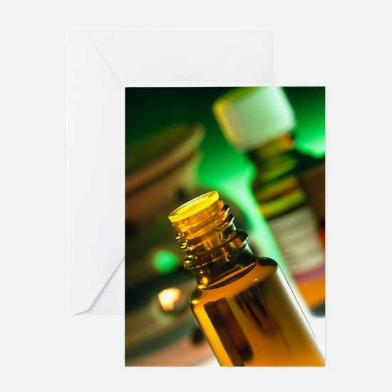 Bottles containing aromatherapy oil Greeting Card