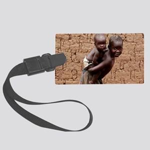 Child carrying a baby Large Luggage Tag