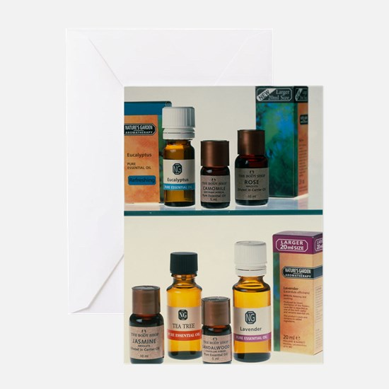 Bottles containing aromatherapy oils Greeting Card