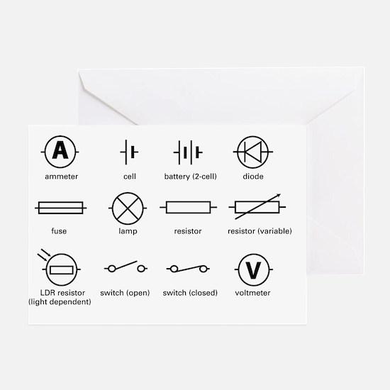 Standard electrical circuit symbols Greeting Card