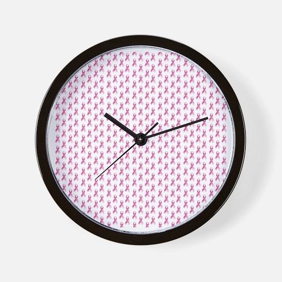 Pink Ribbon Breast Cancer Pattern Wall Clock