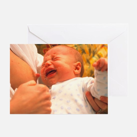 Breast-feeding: baby's crying causes Greeting Card