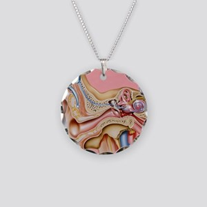 Cochlear implant, artwork Necklace Circle Charm