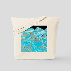 Coloured SEM of a diamond-coated dental g Tote Bag