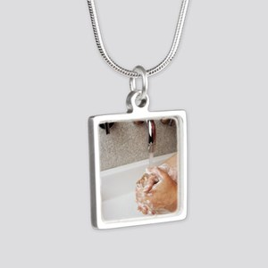 Cleaning hands Silver Square Necklace