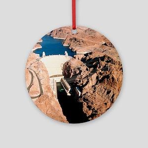 The Hoover Dam, Colorado River Round Ornament
