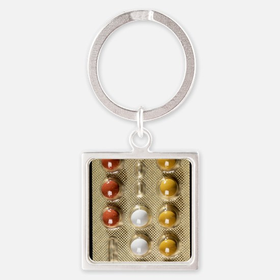 Contraceptive pills Square Keychain