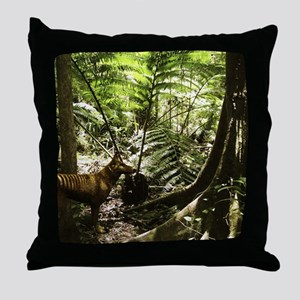 Tasmanian wolf in forest Throw Pillow